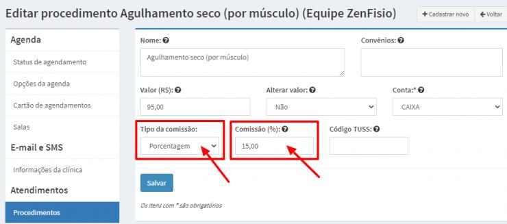 ZenFisio-Editar-procedimento-Comissao